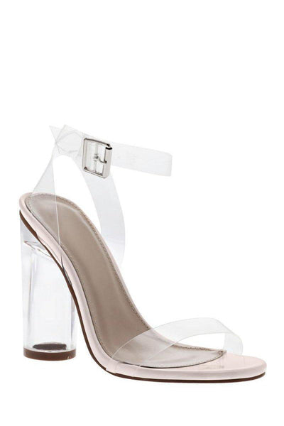 Strappy Perspex Beige High Heels-Single price