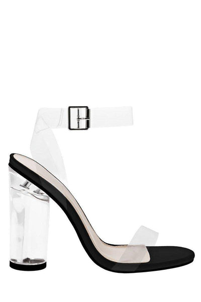 Strappy Perspex Black High Heels-Single price