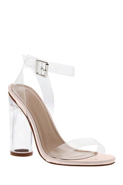 Strappy Perspex Pink High Heels-Single price