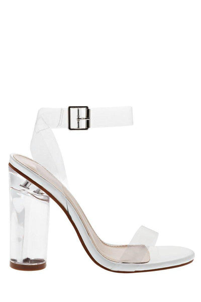 Strappy Perspex White High Heels-Single price