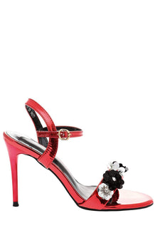 Strappy Red High Heel Sandals-Single price