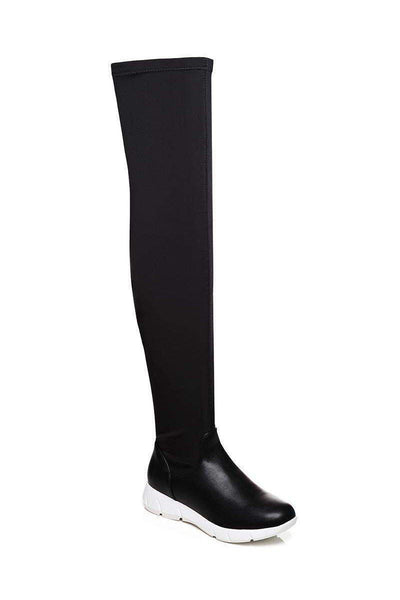 Stretchy Black Over The Knee Boots-SinglePrice