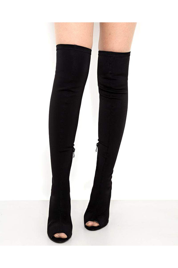 Stretchy Black Peep Toe Over The Knee Boots-SinglePrice