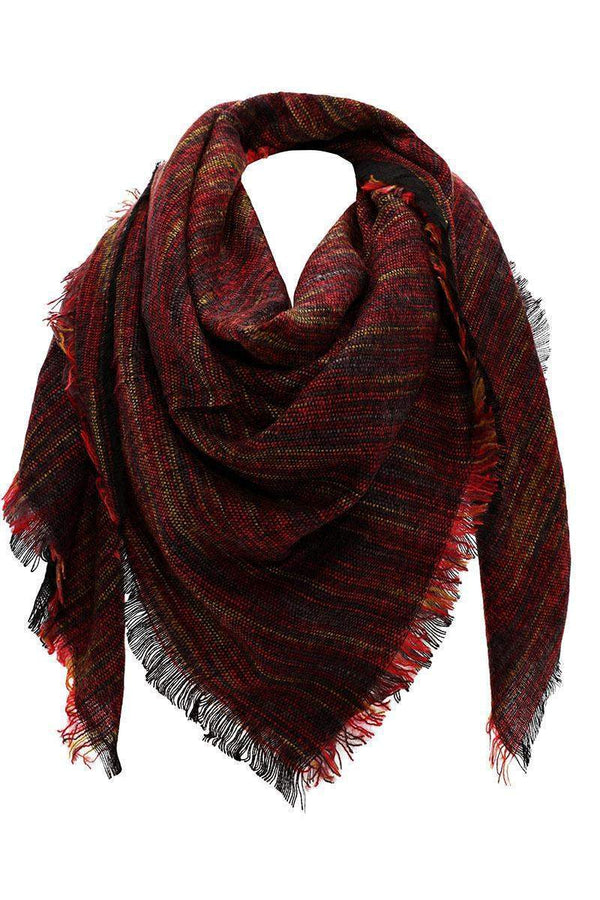 Stripy Knit Dark Red Square Scarf - SinglePrice
