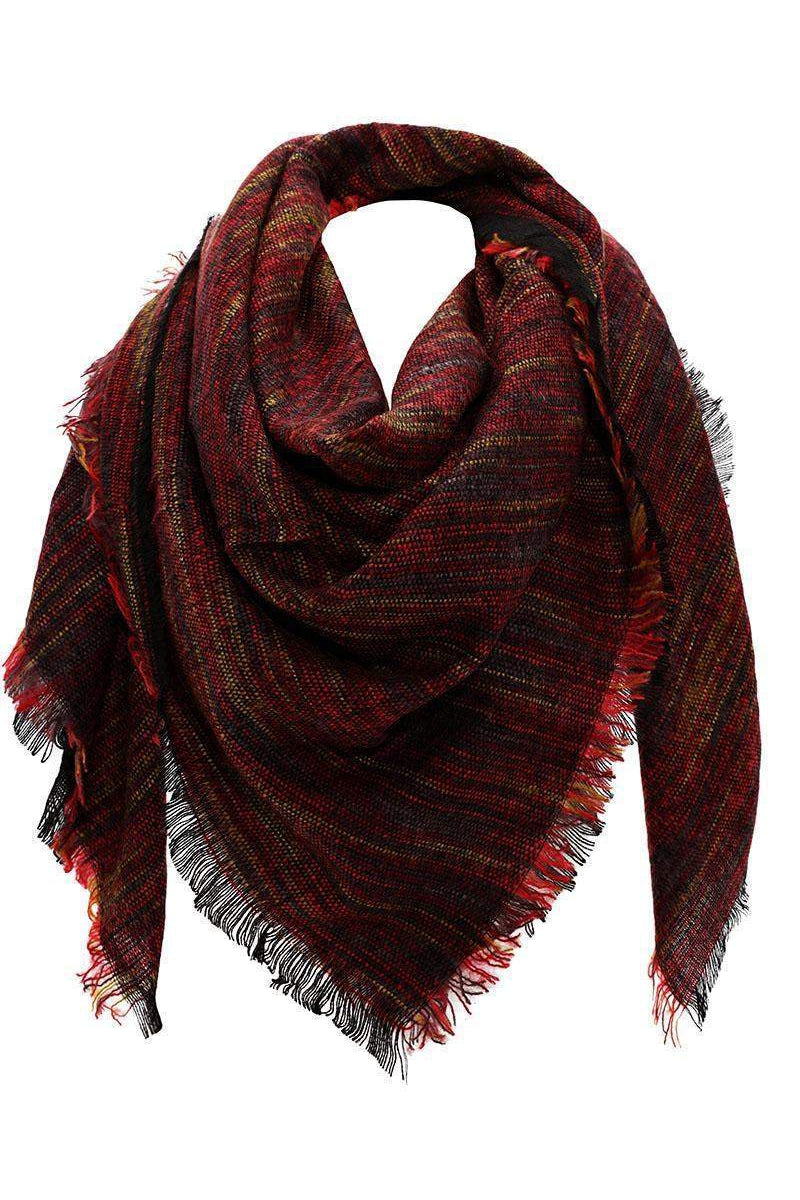 Stripy Knit Dark Red Square Scarf-Single price