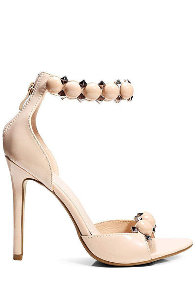 Studded Ankle Strap Beige Heels-Single price