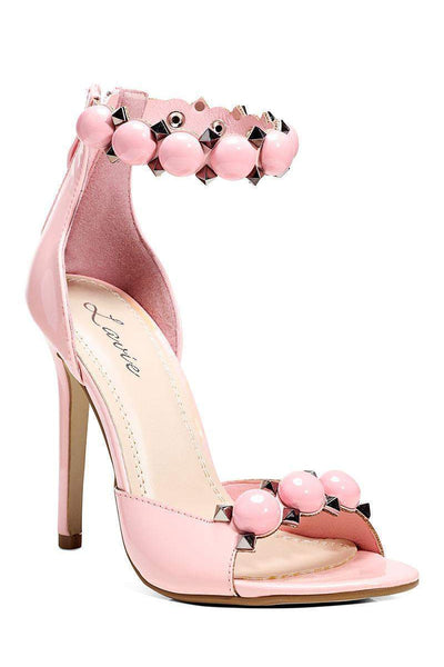 Studded Ankle Strap Pink Heels-Single price
