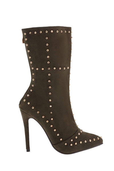 Studded Army Green Ankle Boots-Single price