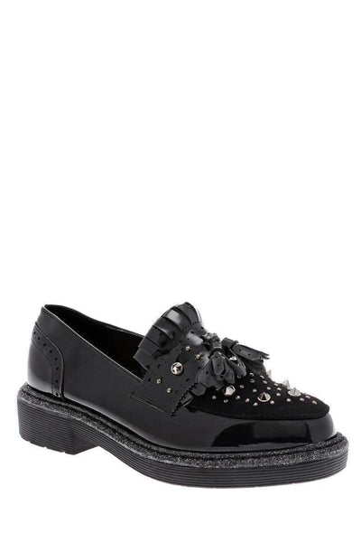Studded Black Loafer Shoes-Single price