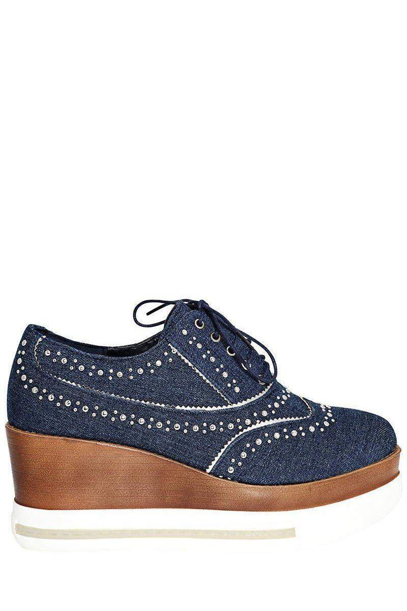 Studded Dark Denim Wedge Shoes-Single price