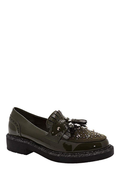 Studded Green Loafer Shoes-Single price