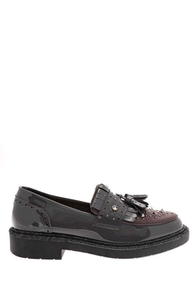 Studded Grey Loafer Shoes-Single price