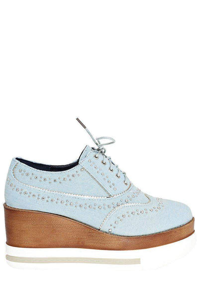 Studded Light Denim Wedge Shoes-Single price