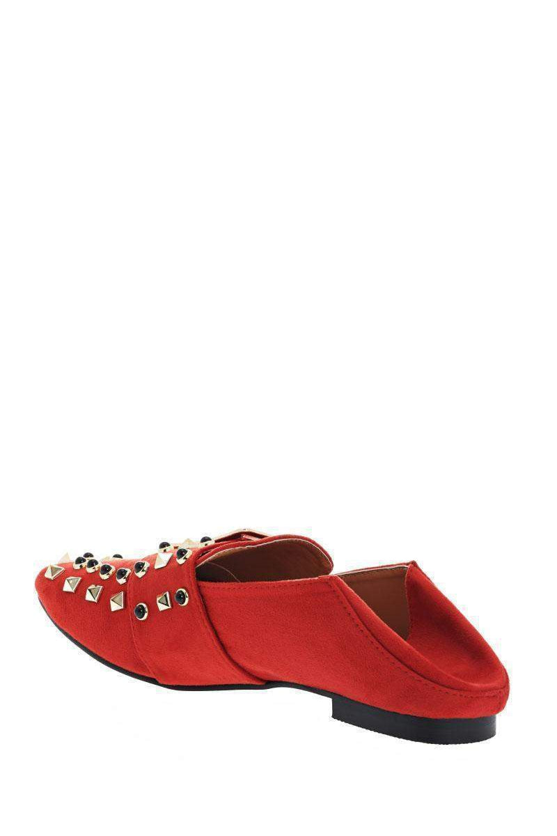 Studded Orange Fold Back Flats - SinglePrice