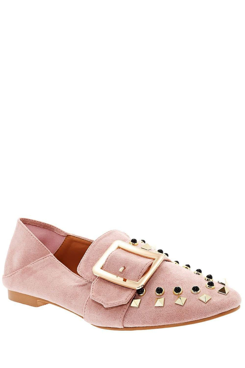 Studded Pink Fold Back Flats-Single price
