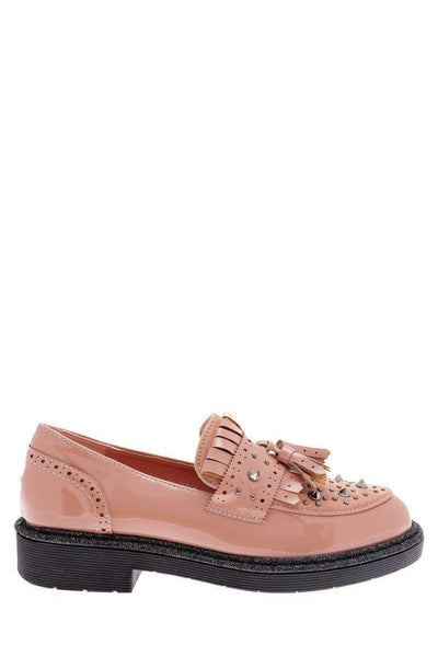 Studded Pink Loafer Shoes-Single price