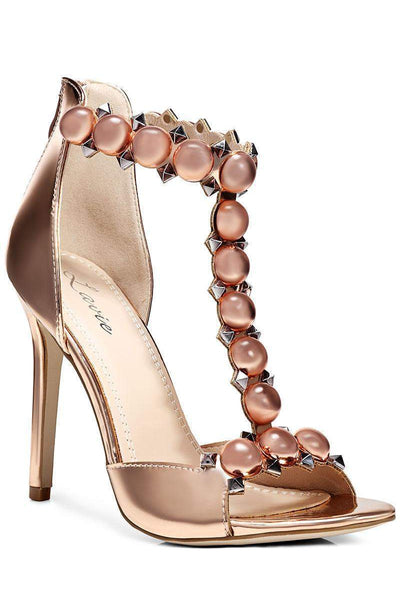 Studded T-Bar Gold Heels-Single price