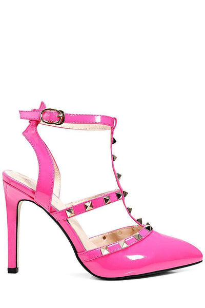 Studded T-Bar Pink Pointed Stiletto Heels-Single price