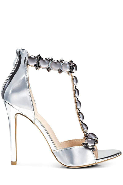 Studded T-Bar Silver Heels-Single price