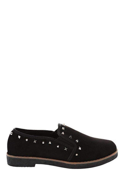 Studded Trim Black Loafers-SinglePrice