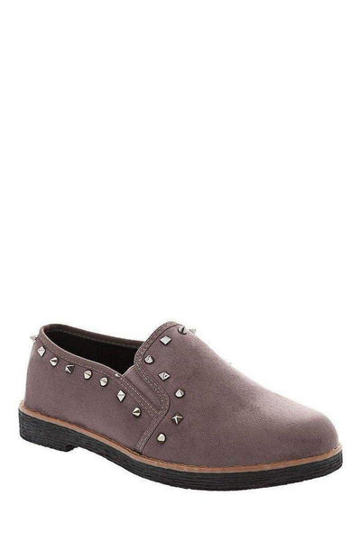 Studded Trim Grey Loafers-SinglePrice