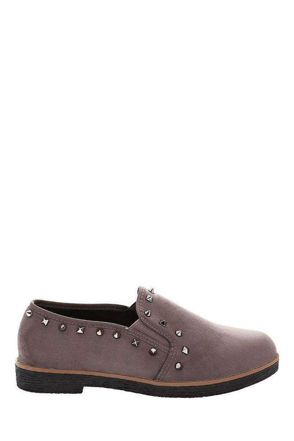 Studded Trim Grey Loafer Flats-Single price