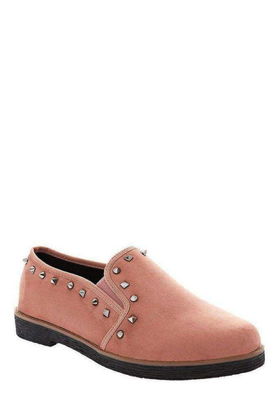 Studded Trim Pink Loafers-SinglePrice