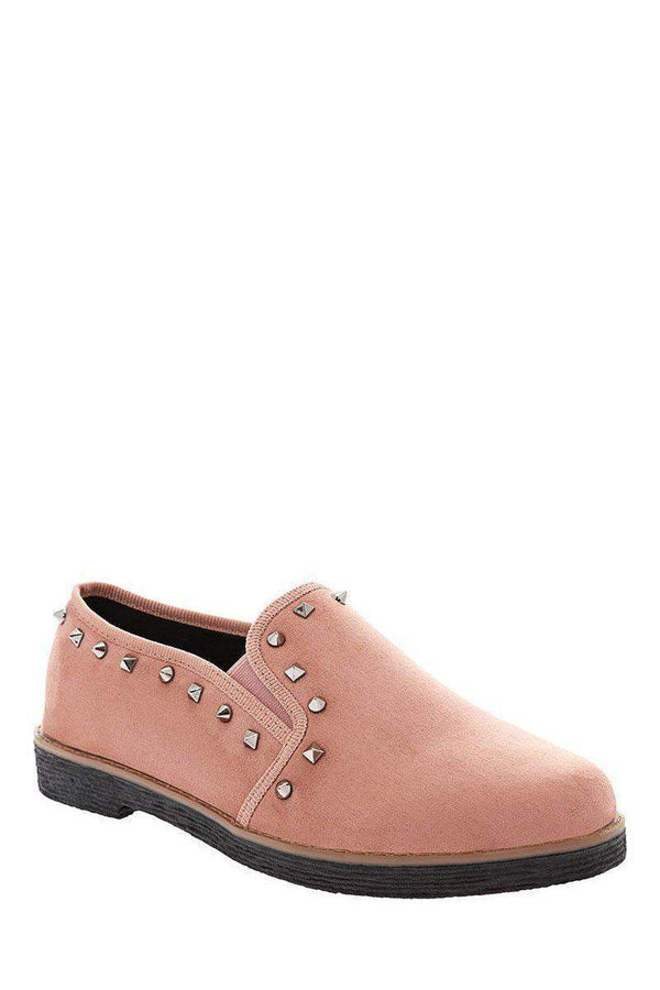 Studded Trim Pink Loafer Flats-Single price