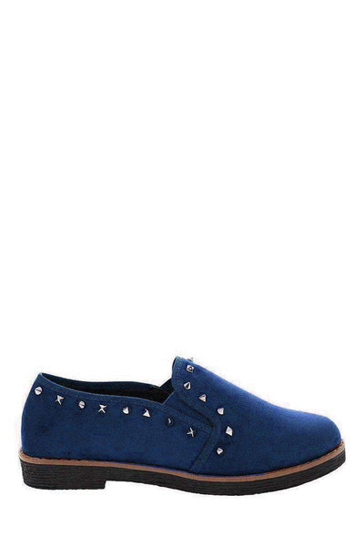 Studded Trim Blue Loafers-SinglePrice