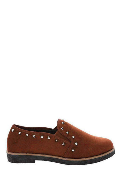 Studded Trim Camel Loafers-SinglePrice