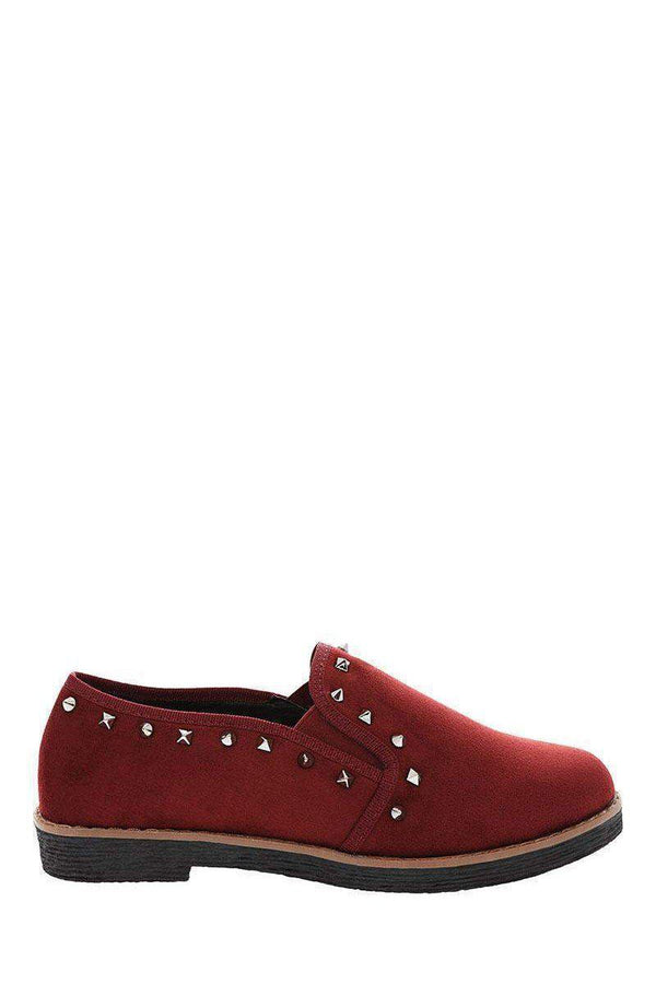 Studded Trim Red Loafer Flats - SinglePrice