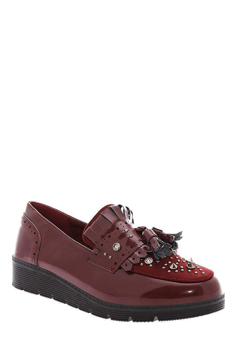 Studded Wine Wedge Loafers-Single price