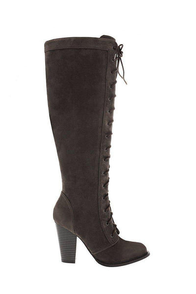 Suede Lace Up Heeled Knee Boots-Single price