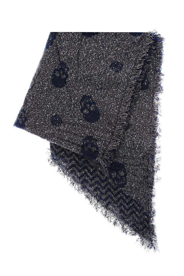 Super Soft Asymmetric Blue Skull Print Scarf-Single price