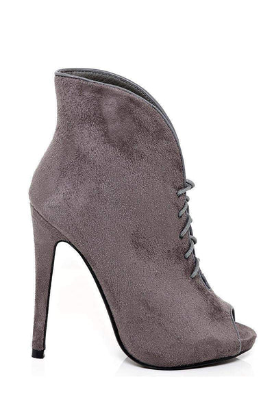 Tall Curved Grey Peep Toe Booties-SinglePrice