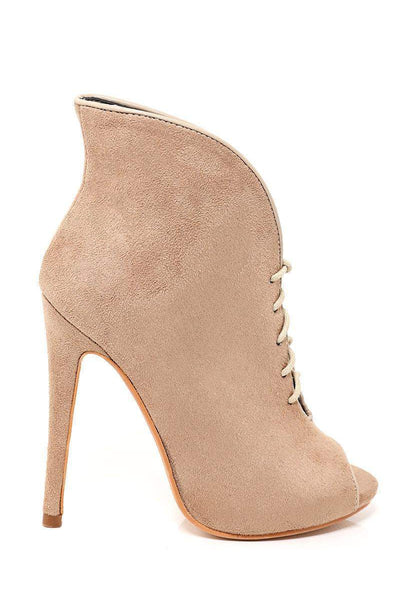 Tall Curved Khaki Peep Toe Booties-SinglePrice