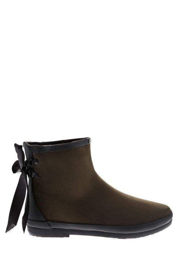 Tie Up Green Ankle Welly Boots-SinglePrice