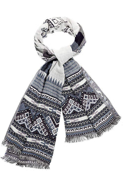 Tribal Pattern Denim Blue Scarf-Single price
