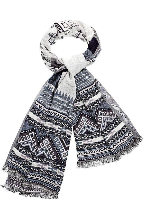 Tribal Pattern Denim Blue Scarf - SinglePrice