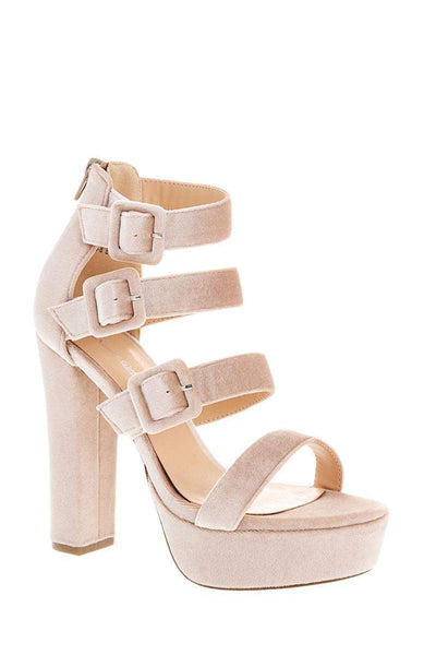 Triple Strap Beige Velvet Platform Heels-Single price