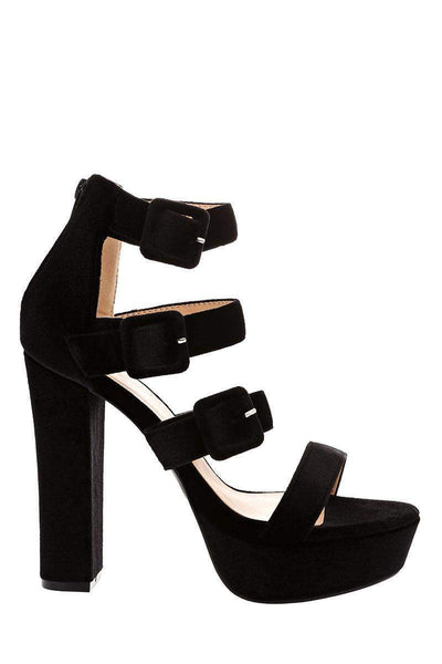 Triple Strap Black Velvet Platform Heels-Single price