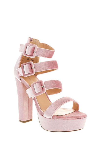 Triple Strap Pink Velvet Platform Heels-Single price