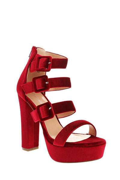 Triple Strap Red Velvet Platform Heels-Single price