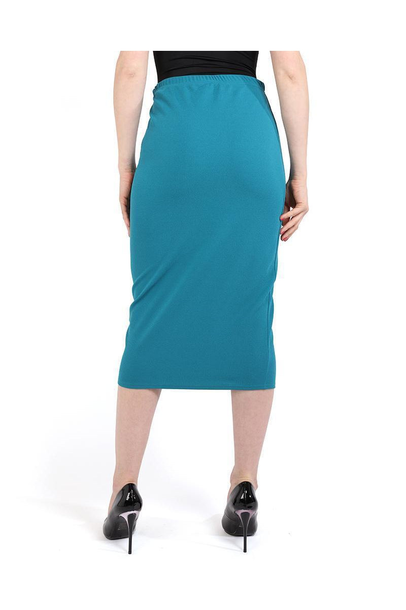quality special discount of Sales promotion Turquoise Laser Cut Hem Midi Skirt