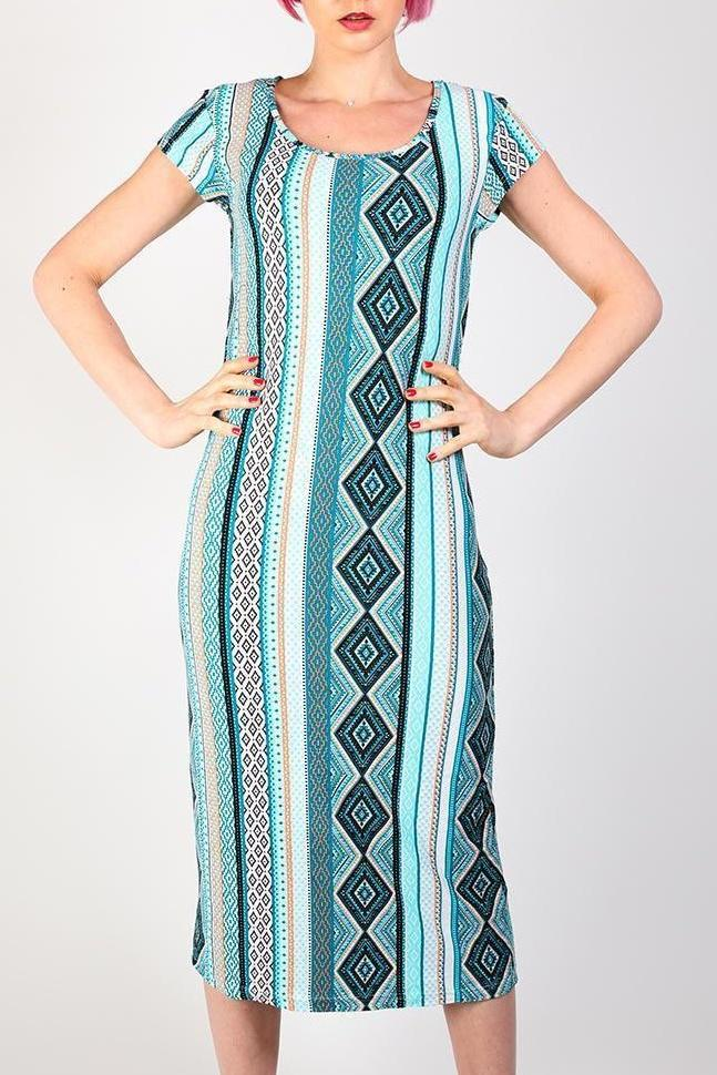 Turquoise Mixed Print T-Shirt Midi Dress-SinglePrice
