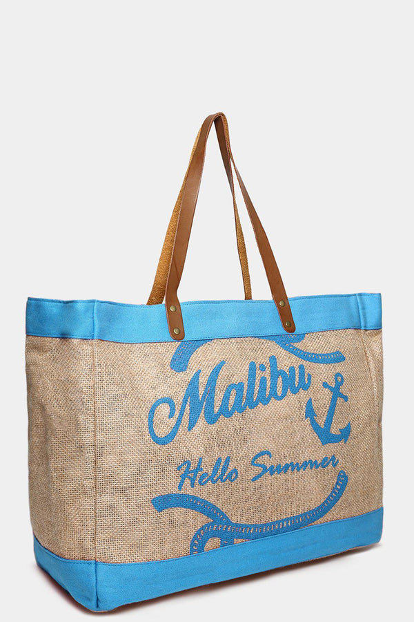 Turquoise Malibu Large Beach Bag