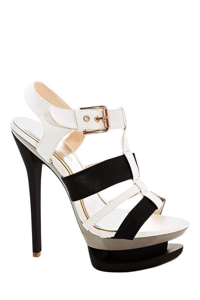 Two Tone Black Platform Stiletto Heels-Single price