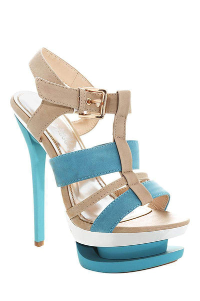Two Tone Blue Platform Stiletto Heels-Single price
