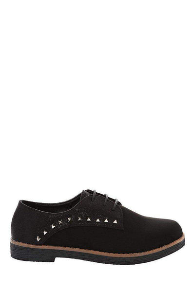 Two Tone Studded Black Lace Up Shoes-Single price
