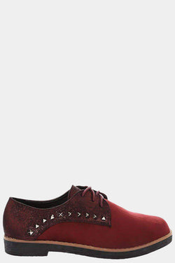 Two Tone Studded Red Lace Up Shoes-Single price